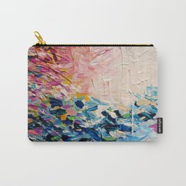 PARADISE DREAMING Colorful Pastel Abstract Art Painting Textural Pink Blue Tropical Brushstrokes Carry-All Pouch