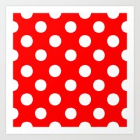 polka dots Art Prints featuring Polka Dots (White/Red) by 10813 Apparel