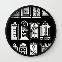 Moroccan Doors – White Ink on Black Wall Clock