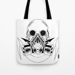 skull wearing a gas mask. vector with signature Tote Bag