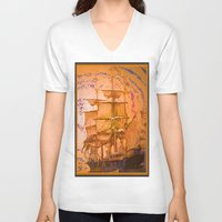 pirate ship V-neck T-shirts featuring pirate ship by Vector Art