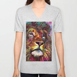 Colorful Lion Painting 2018 Unisex V-Neck