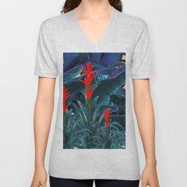 RED BROMELIAD FLOWERS & BLUE  JUNGLE LEAVES Unisex V-Neck