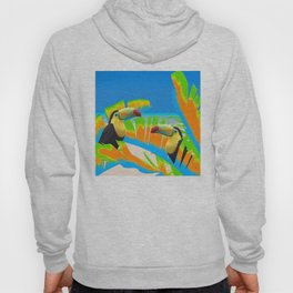 Colorful Toucans Tropical Banana Leaves Pattern Hoody