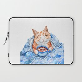 Happy Cat Drinking Hot Chocolate Laptop Sleeve
