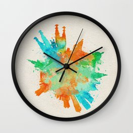 Barcelona, Spain Colorful Skyround / Skyline Watercolor Painting Wall Clock