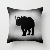 rhino Throw Pillows featuring Rhino by LoRo  Art & Pictures
