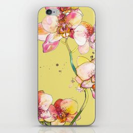 Pink Orchids in Yellow iPhone Skin