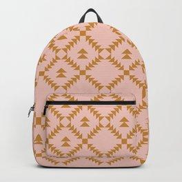 Blush and Gold Geometric Pattern Backpack
