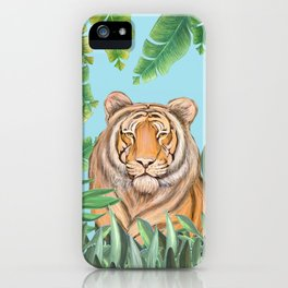 Tropical tiger jungle, tropical flowers iPhone Case