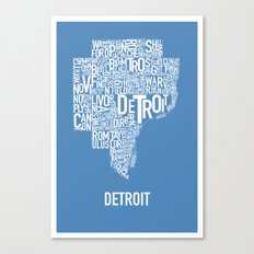 Detroit typography map poster - Blue Canvas Print
