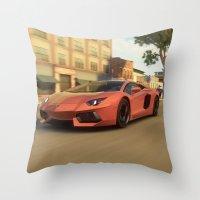 lamborghini Throw Pillows featuring Lamborghini Aventador Speed (Forza) by N_Cvetty