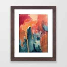 Pour Some Sugar on Me: a colorful mixed media abstract in pinks blues orange and purple Framed Art Print