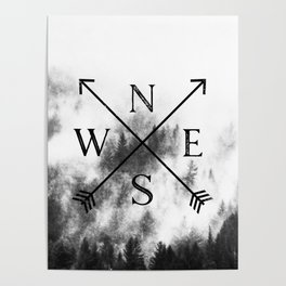 Foggy Forest Compass Poster