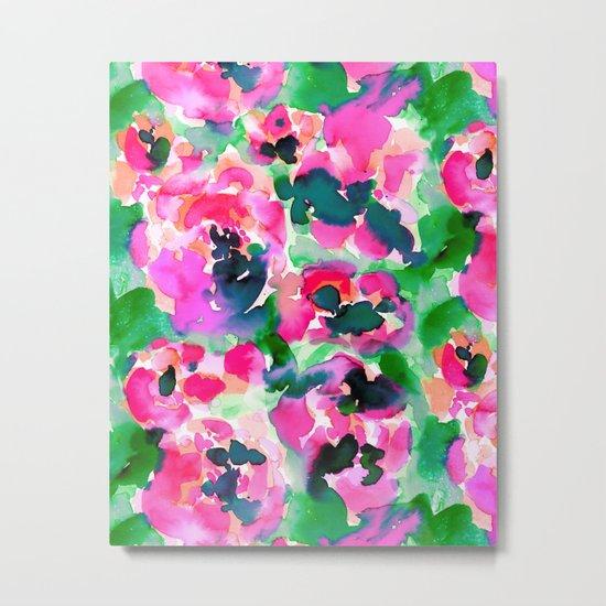 Abstract Flora Green Metal Print