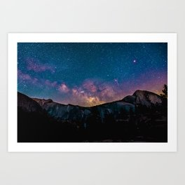 Milky Way Mountains Deep Pastel Art Print