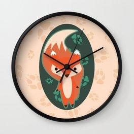 Fox with Paw Prints Wall Clock