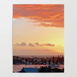 Modern Sunset On Cliff Drive Newport Beach CA Poster