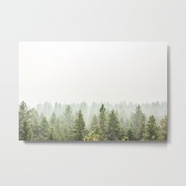 arial forest print, tree top print, wall art, woodland print, forest print, arial fog tree phoo Metal Print