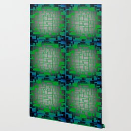 Teal Green Art Deco Pattern Wallpaper