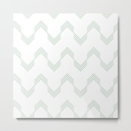 Deconstructed Chevron in Pastel Cactus Green on White Metal Print