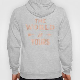 THE WORLD IS YOURS Rose Gold Pink on Black Hoody