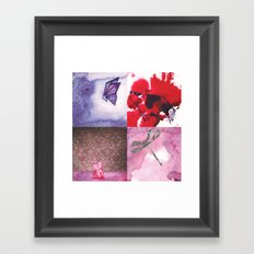 Cow, Butterfly, Cat and Dragonfly Framed Art Print