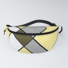 Yellow diamonds with gray, black and white geometric pattern Fanny Pack