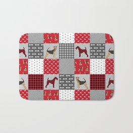 Airedale Terrier Cheater Quilt -  patchwork, airedale, dog, blanket, cute design Bath Mat