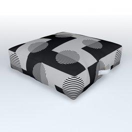 Geometric Zig Zags & Circles Pattern - Black White Gray Outdoor Floor Cushion