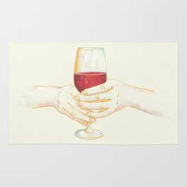 It's Wine Time - Women Holding Wine Glass Rug