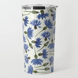 Vintage Pressed Flowers - Blue Cornflower Travel Mug