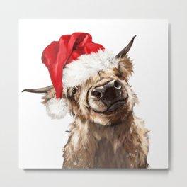 Christmas Highland Cow Metal Print