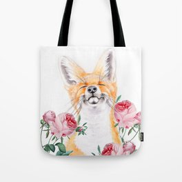 Happy Fox And Pink Roses Tote Bag