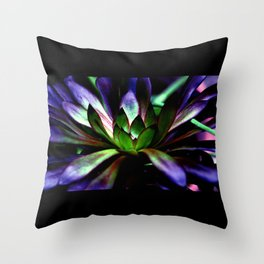 Purple and Green Leaves Throw Pillow