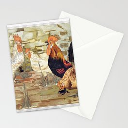Roosters and hens from Animal in decoration (1897) illustrated by Maurice Pillard Verneuil . Stationery Cards