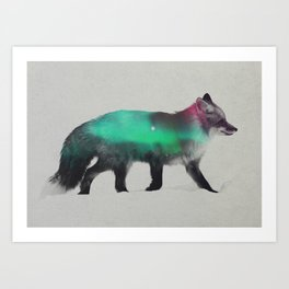Fox In The Aurora Borealis Art Print