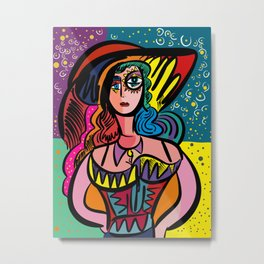 Tarot Girl with Hat French Art Cubism Metal Print
