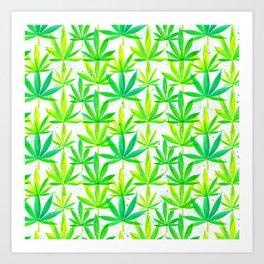 Watercolor Marijuana Leaf Art Print