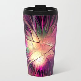 Flowering Fantasy, Abstract Fractal Art Travel Mug