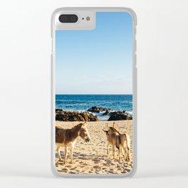 Donkeys on the beach Clear iPhone Case