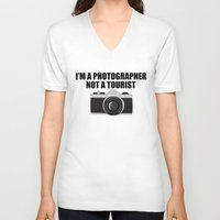 photographer V-neck T-shirts featuring Photographer Tourist Funny by bitobots
