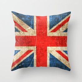 Vintage Aged and Scratched British Flag Throw Pillow