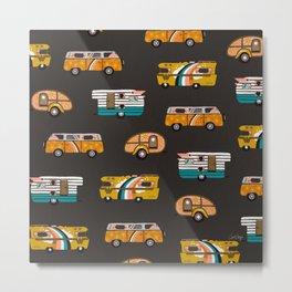Retro Road Trip – Charcoal Metal Print