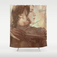 meme Shower Curtains featuring MEME 018 Katniss Everdeen by mushroomtale