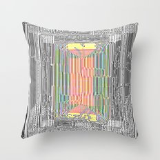 Glitch in the Style of Art Nouveau  Throw Pillow