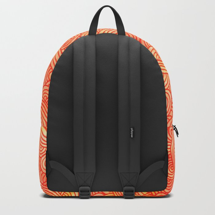 Red and orange swirls doodles Backpack