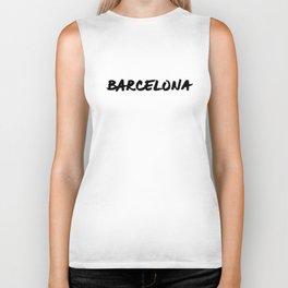 'Barcelona' Spain Hand Letter Type Word Black & White Biker Tank