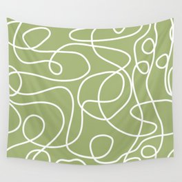 Doodle Line Art | White Lines on Spring Green Wall Tapestry