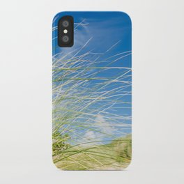 Vibrant Sand dune grasses against blue sky, Fistral Beach iPhone Case